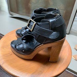 Chloe Open Toe Wooden Platform Heels Sz 7